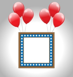 Photo frame in US national colors with balloons vector