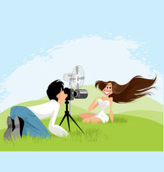 Photo shoot on nature vector