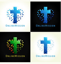 Pixel cross heart logo vector