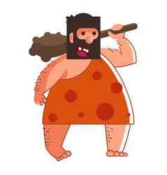 Primitive man or caveman with wooden bat isolated vector