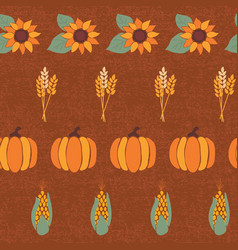 pumpkins corn sunflowers wheat crop vector image