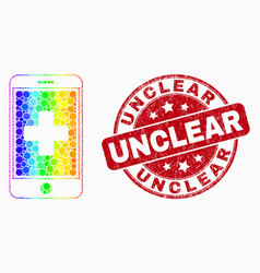 rainbow colored pixelated medical mobile vector image