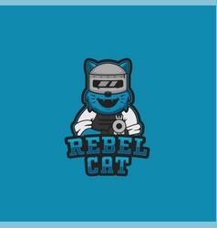 Rebel cat logo mascot for gaming gamer or vector