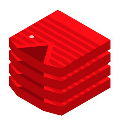 red shirt stack icon isometric style vector image
