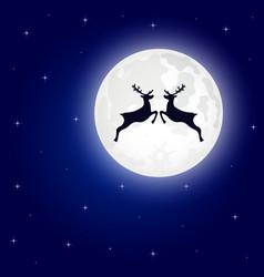 reindeer jumps against background moon vector image