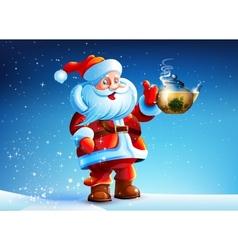 Santa Claus offers drink tea vector image