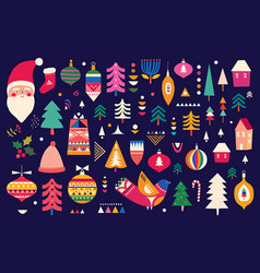 scandinavian folk christmas vector image