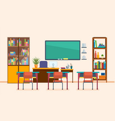 school classroom with chalkboard and desks vector image