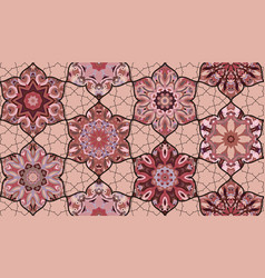Seamless pattern morrocan vitrage ornament floral vector