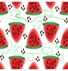Seamless pattern of sweet juicy pieces watermelon vector image
