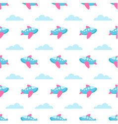 seamless pattern with planes and clouds vector image