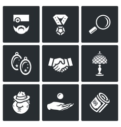 Set of Pawnshop Icons Appraiser Jewel vector image