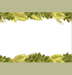 sheet frame pattern with leaves and rye vector image