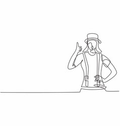 Single one line drawing female mime artist vector