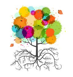 Spring tree with roots and colorful splashes and vector