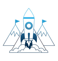startup rocket with mountains isolated icon vector image