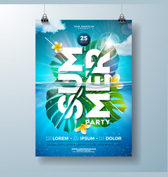 summer party flyer design template with tropical vector image