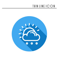 Sun cloud rain line simple icon weather symbols vector