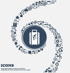 Travel luggage suitcase icon in the center Around vector
