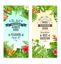 Tropical Plants 2 Colorful Vacation Banners vector
