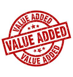 value added round red grunge stamp vector image