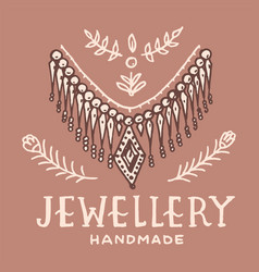 Victorian necklace label women jewelry shop badge vector