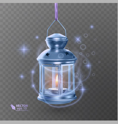 Vintage luminous lantern of blue color with vector