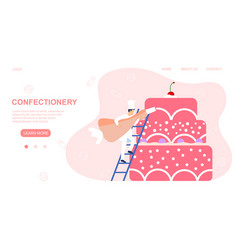 web page design template for confectionery vector image