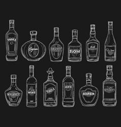 wine tequila vodka cognac alcohol drink bottles vector image