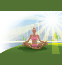 Woman practices yoga outdoors vector