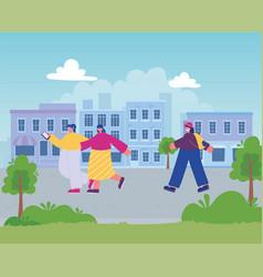 women walking in street city with smartphone vector image