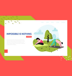 yoga in park landing page template active people vector image