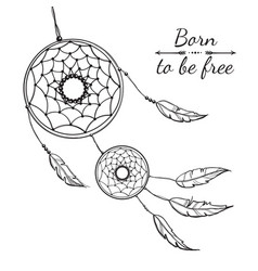 detailed dreamcatcher with ornament vector image vector image