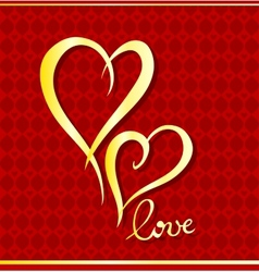 Golden hearts vector image vector image