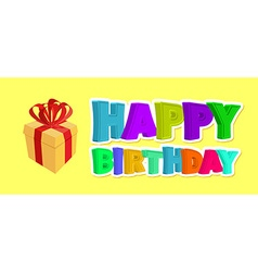 Happy birthday greetings Gift and inscription of vector image vector image