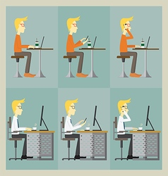 Man sitting at the table and working with his comp vector image vector image