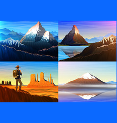mountain everest matterhorn fuji with tourist vector image
