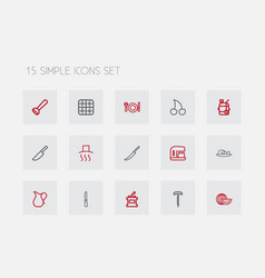 Set of 15 editable cooking outline icons includes vector