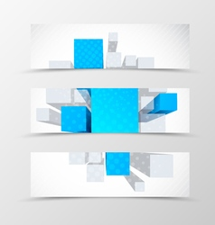 Set of header banner dynamic geometric design vector image