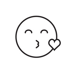 smiling cartoon face blowing kiss positive people vector image