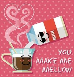 smiling cartoon on coffee cup and milk carton vector image vector image
