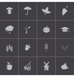 black autumn icons set vector image