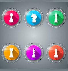 chess game set color icon vector image