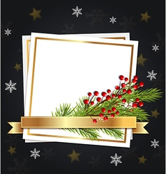 Fir branch and white sheet of paper vector image