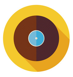 Flat Music Vinyl Record Disc Circle Icon with Long vector image
