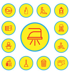 set of 13 editable hygiene outline icons includes vector image vector image