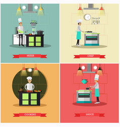 set of kitchen posters banners in flat vector image vector image