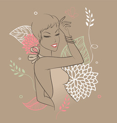 smile woman floral vector image vector image