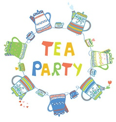 Tea party card with pots and cups vector image