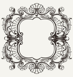 Elegant Baroque Ornate Curves Engraving Frame vector image